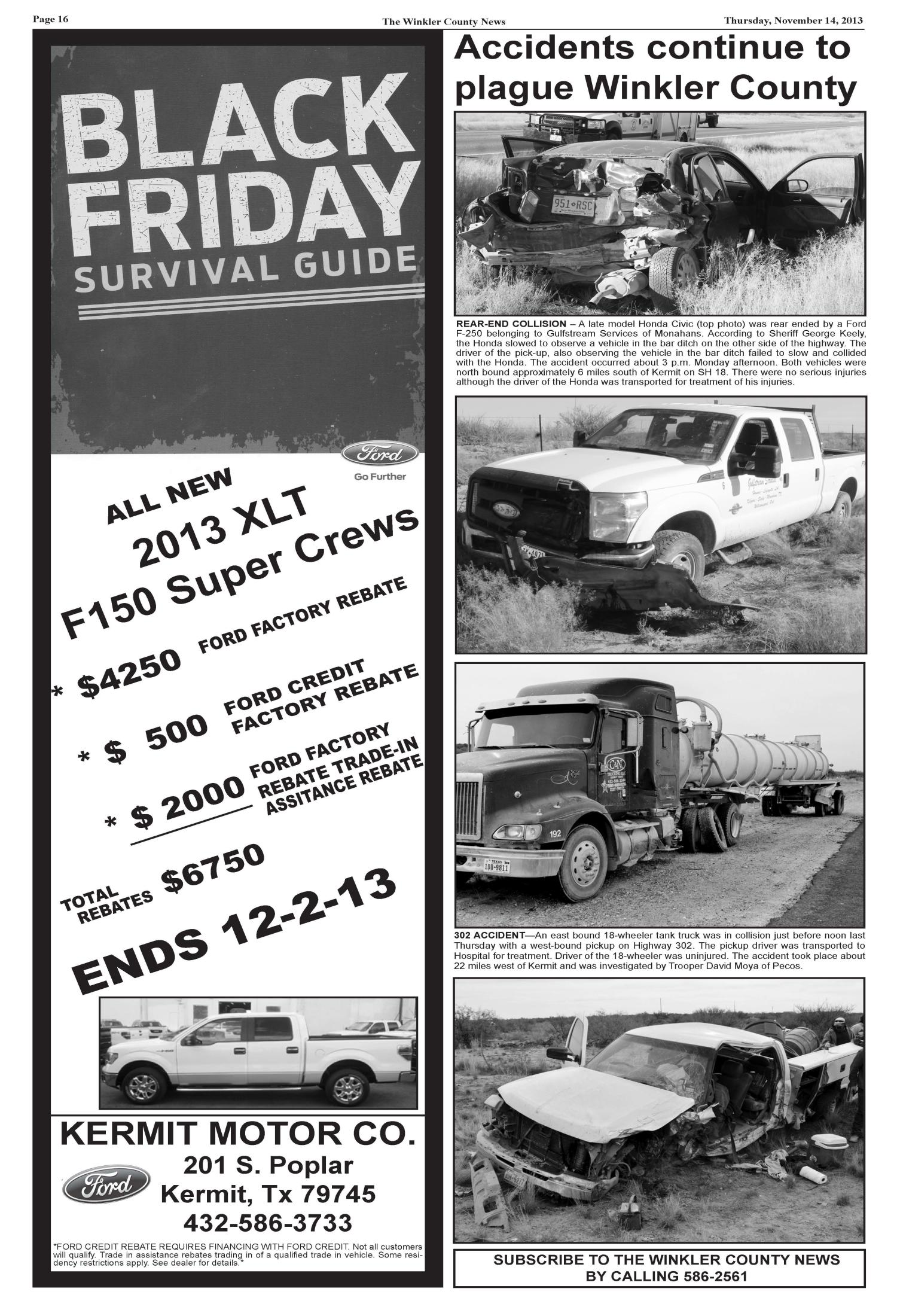The Winkler County News (Kermit, Tex.), Vol. 78, No. 45, Ed. 1 Thursday, November 14, 2013                                                                                                      [Sequence #]: 16 of 16