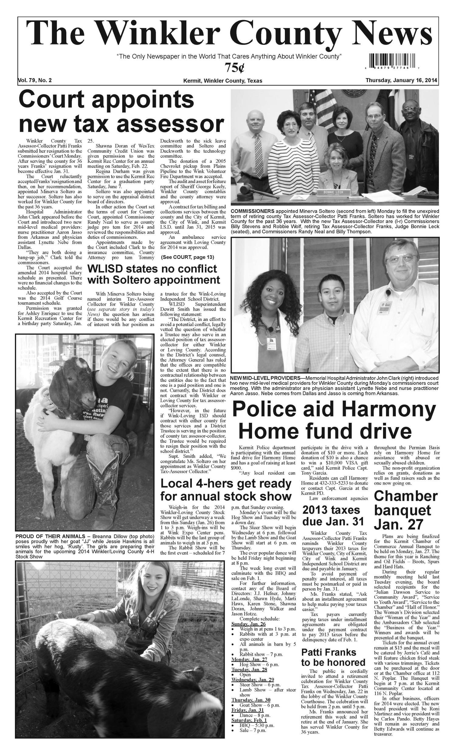 The Winkler County News (Kermit, Tex.), Vol. 79, No. 2, Ed. 1 Thursday, January 16, 2014                                                                                                      [Sequence #]: 1 of 13