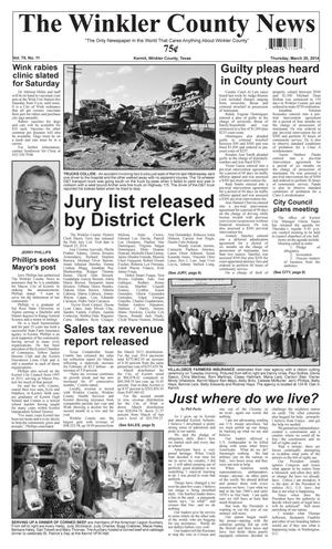 Primary view of object titled 'The Winkler County News (Kermit, Tex.), Vol. 79, No. 11, Ed. 1 Thursday, March 20, 2014'.
