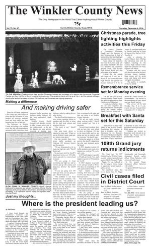 Primary view of object titled 'The Winkler County News (Kermit, Tex.), Vol. 79, No. 47, Ed. 1 Thursday, December 4, 2014'.