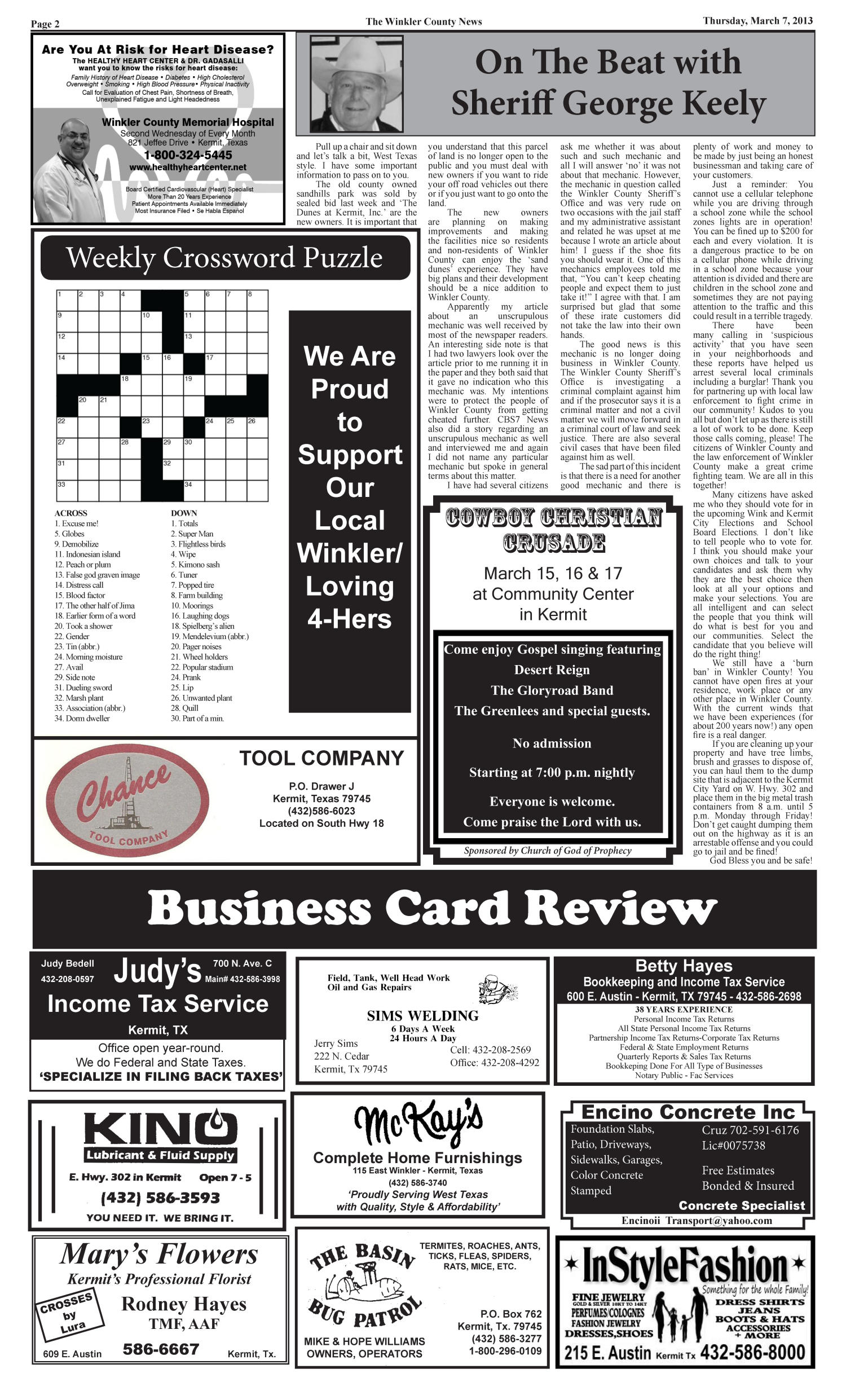 The Winkler County News (Kermit, Tex.), Vol. 78, No. 9, Ed. 1 Thursday, March 7, 2013                                                                                                      [Sequence #]: 2 of 12