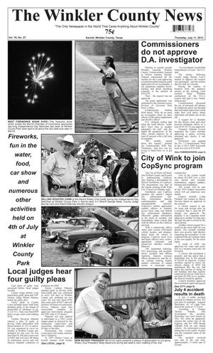Primary view of object titled 'The Winkler County News (Kermit, Tex.), Vol. 78, No. 27, Ed. 1 Thursday, July 11, 2013'.