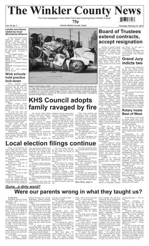 Primary view of object titled 'The Winkler County News (Kermit, Tex.), Vol. 78, No. 7, Ed. 1 Thursday, February 21, 2013'.