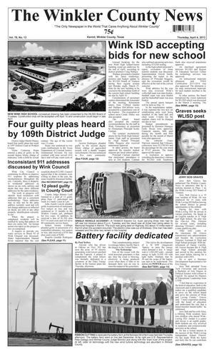 Primary view of object titled 'The Winkler County News (Kermit, Tex.), Vol. 78, No. 13, Ed. 1 Thursday, April 4, 2013'.