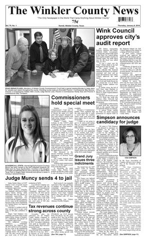 Primary view of object titled 'The Winkler County News (Kermit, Tex.), Vol. 79, No. 1, Ed. 1 Thursday, January 9, 2014'.