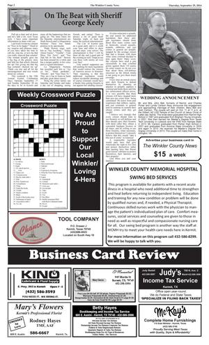 Primary view of object titled 'The Winkler County News (Kermit, Tex.), Vol. 79, No. 37, Ed. 1 Thursday, September 25, 2014'.