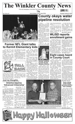 Primary view of object titled 'The Winkler County News (Kermit, Tex.), Vol. 79, No. 42, Ed. 1 Thursday, October 30, 2014'.