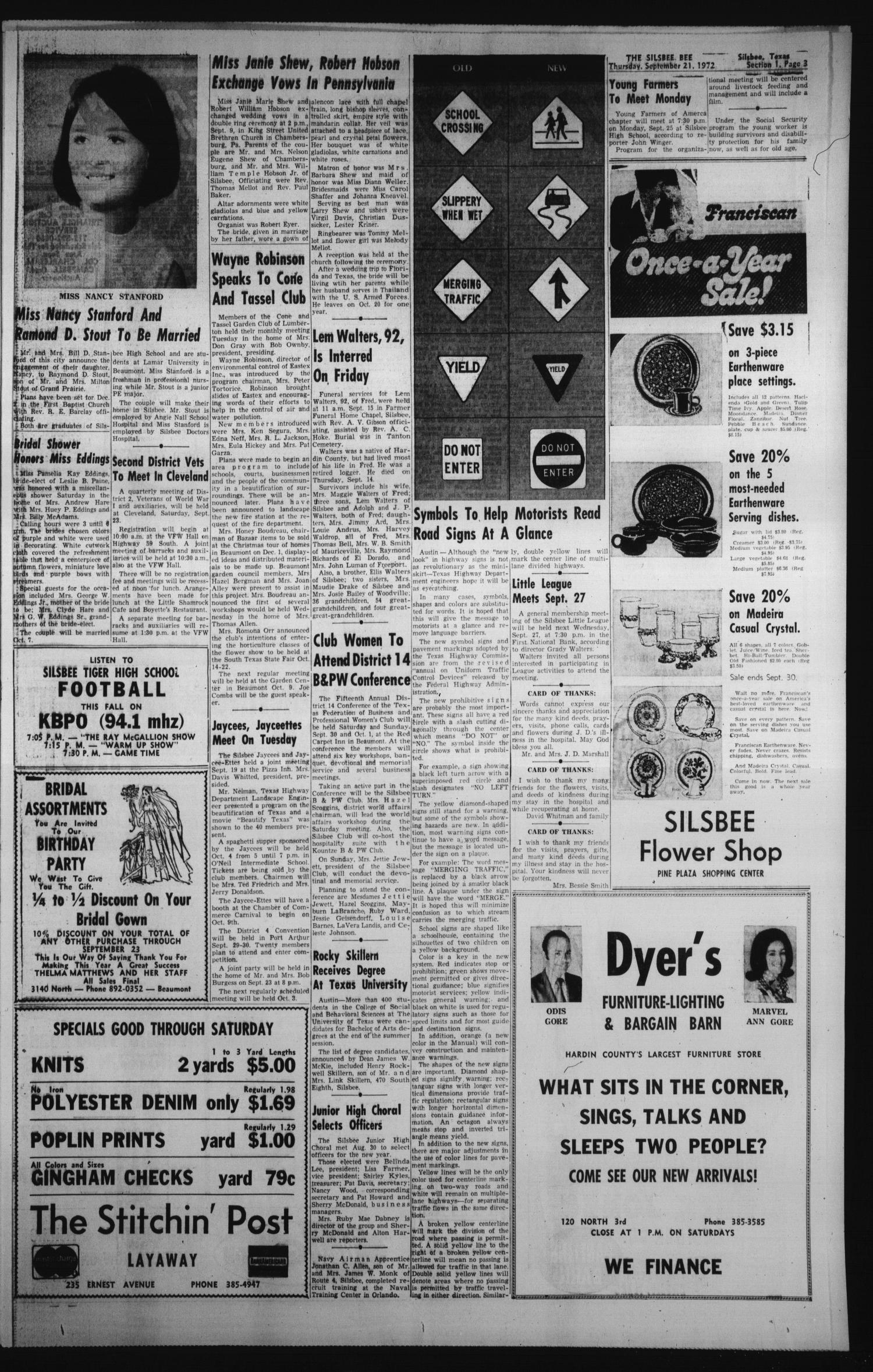 The Silsbee Bee (Silsbee, Tex.), Vol. 54, No. 31, Ed. 1 Thursday, September 21, 1972                                                                                                      [Sequence #]: 3 of 22