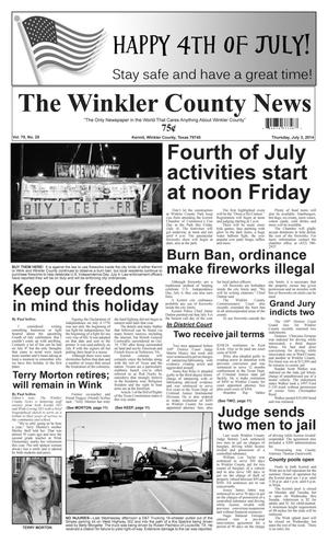 Primary view of object titled 'The Winkler County News (Kermit, Tex.), Vol. 79, No. 25, Ed. 1 Thursday, July 3, 2014'.