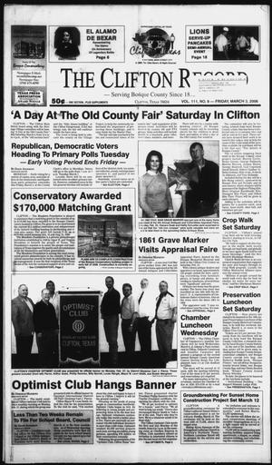 Primary view of object titled 'The Clifton Record (Clifton, Tex.), Vol. 111, No. 9, Ed. 1 Friday, March 3, 2006'.