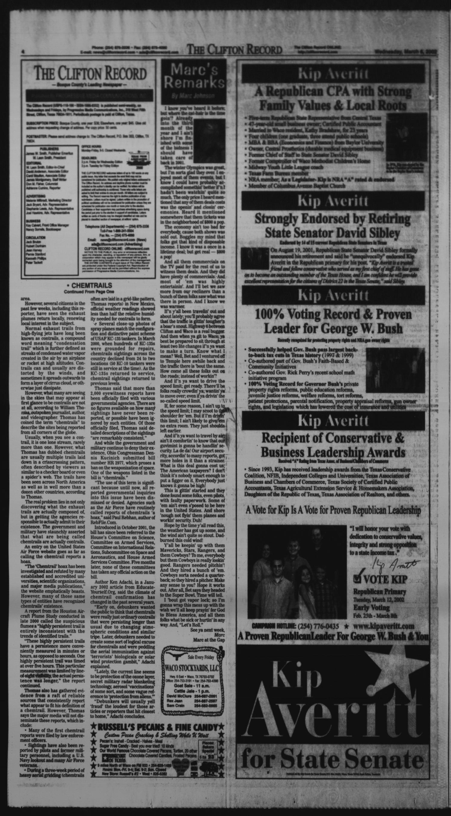 The Clifton Record (Clifton, Tex.), Vol. 107, No. 19, Ed. 1 Wednesday, March 6, 2002                                                                                                      [Sequence #]: 4 of 16