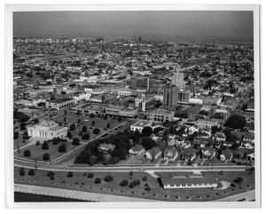Primary view of object titled '[Aerial of Downtown Port Arthur]'.