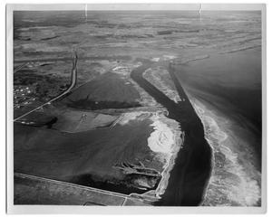 Primary view of object titled '[Aerial Photograph Canal and River Confluence]'.