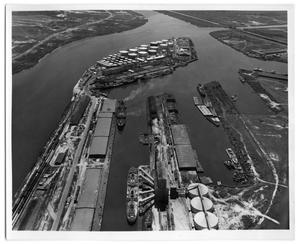Primary view of object titled '[Aerial of Texaco Island]'.