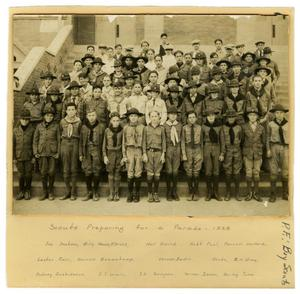 Primary view of object titled '[Boy Scouts Preparing for Parade]'.