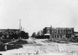 "Primary view of object titled '[3rd Street, Rosenberg. ""Main St."" written on photo.]'."