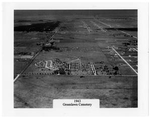 Primary view of object titled '[Aerial of Greenlawn Cemetery]'.