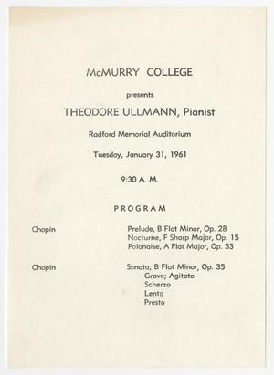 Primary view of object titled '[Recital Program: Theodore Ullmann, Pianist, 1961]'.