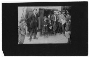 Primary view of object titled '[Men at Peanut Stand]'.