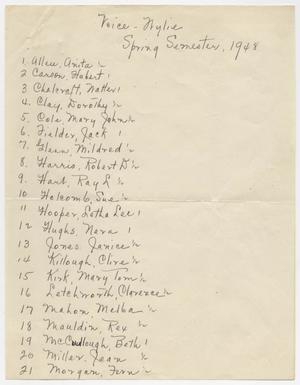 [List of Choir Members]