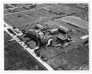 Primary view of object titled '[Aerial View of Saint Mary Hospital]'.