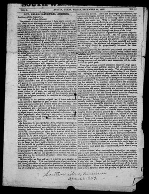 Primary view of object titled 'South-Western American (Austin, Tex.), Vol. 1, No. 15, Ed. 1, Friday, December 21, 1849'.