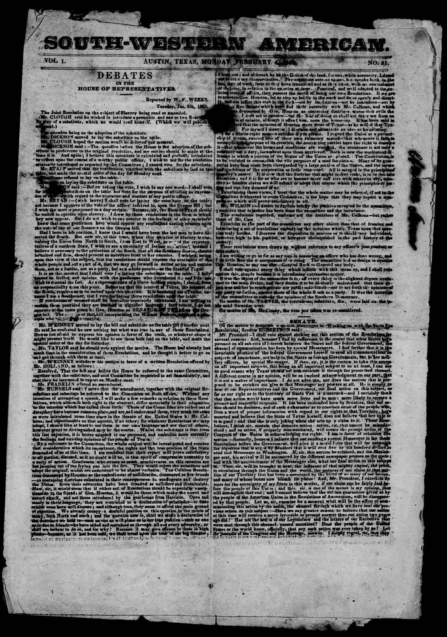 South-Western American. (Austin, Tex.), Vol. 1, No. 31, Ed. 1, Monday, February 4, 1850                                                                                                      [Sequence #]: 1 of 4