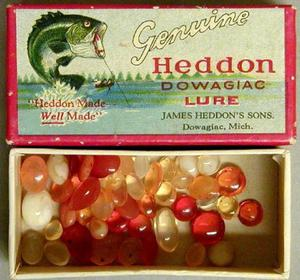 [Lure box filled with forty-eight plastic beads]