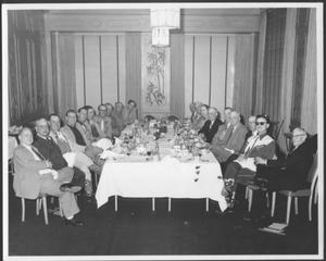 [Albert Peyton George and a group of men in the dining room of a Houston hotel]