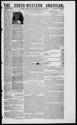 Primary view of object titled 'South-Western American (Austin, Tex.), Vol. 4, No. 4, Ed. 1, Wednesday, August 4, 1852'.
