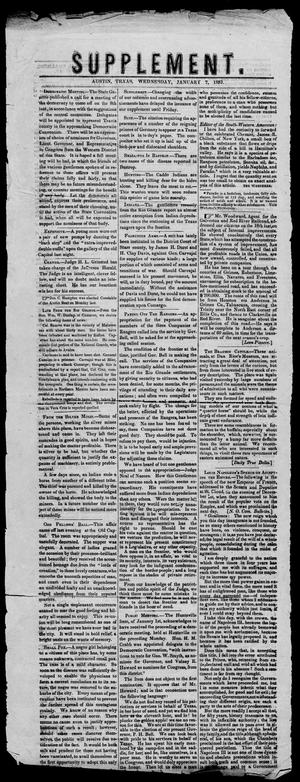 Primary view of Supplement. (Austin, Tex.), Vol. 4, No. 26, Ed. 1, Friday, January 7, 1853