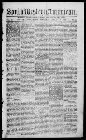 Primary view of object titled 'South-Western American (Austin, Tex.), Vol. 4, No. 26, Ed. 1, Wednesday, January 5, 1853'.