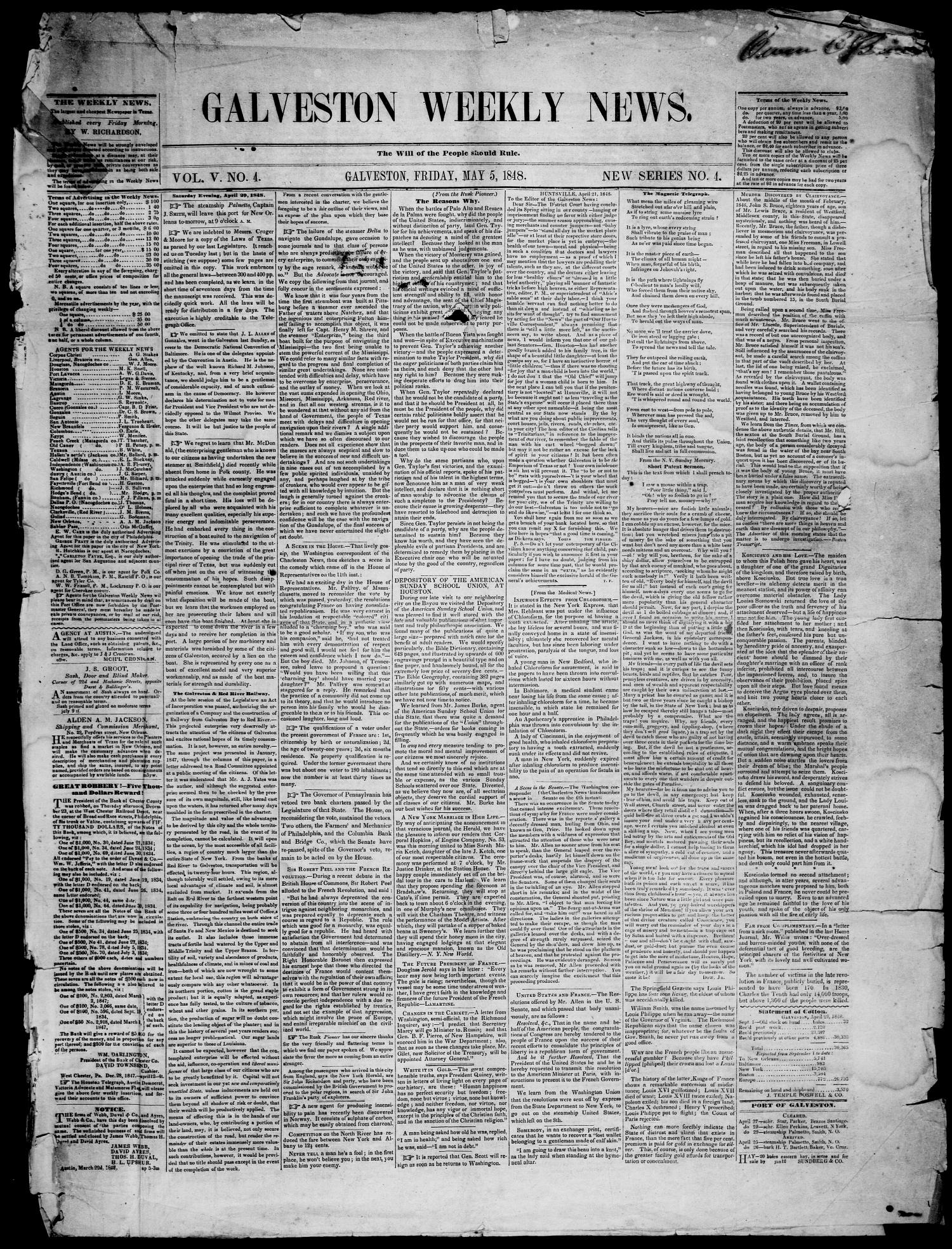 Galveston Weekly News. (Galveston, Tex.), Vol. 5, No. 4, Ed. 1, Friday, May 5, 1848                                                                                                      [Sequence #]: 1 of 6