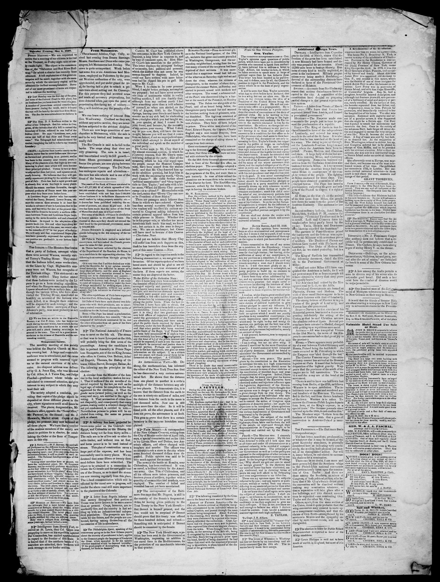 Galveston Weekly News. (Galveston, Tex.), Vol. 5, No. 4, Ed. 1, Friday, May 5, 1848                                                                                                      [Sequence #]: 3 of 6
