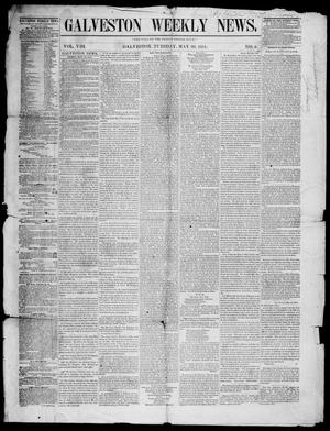 Primary view of object titled 'Galveston Weekly News (Galveston, Tex.), Vol. 8, No. 6, Ed. 1, Tuesday, May 20, 1851'.
