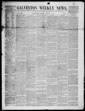 Primary view of object titled 'Galveston Weekly News (Galveston, Tex.), Vol. 8, No. 14, Ed. 1, Tuesday, July 15, 1851'.