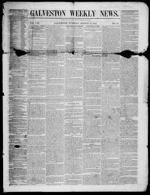 Primary view of object titled 'Galveston Weekly News (Galveston, Tex.), Vol. 8, No. 18, Ed. 1, Tuesday, August 12, 1851'.