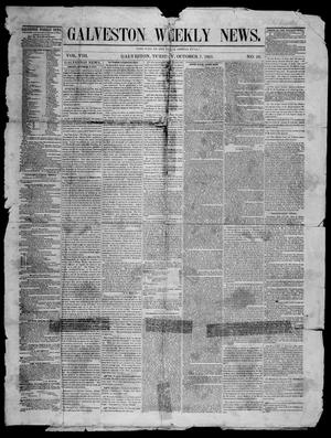 Primary view of object titled 'Galveston Weekly News (Galveston, Tex.), Vol. 8, No. 26, Ed. 1, Tuesday, October 7, 1851'.