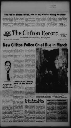 Primary view of The Clifton Record (Clifton, Tex.), Vol. 92, No. 8, Ed. 1 Thursday, February 19, 1987