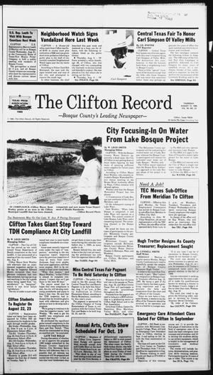 Primary view of object titled 'The Clifton Record (Clifton, Tex.), Vol. 90, No. 33, Ed. 1 Thursday, August 15, 1985'.
