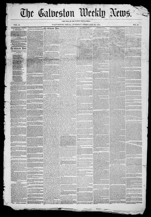 Primary view of object titled 'Galveston Weekly News (Galveston, Tex.), Vol. 10, No. 50, Ed. 1, Tuesday, February 28, 1854'.