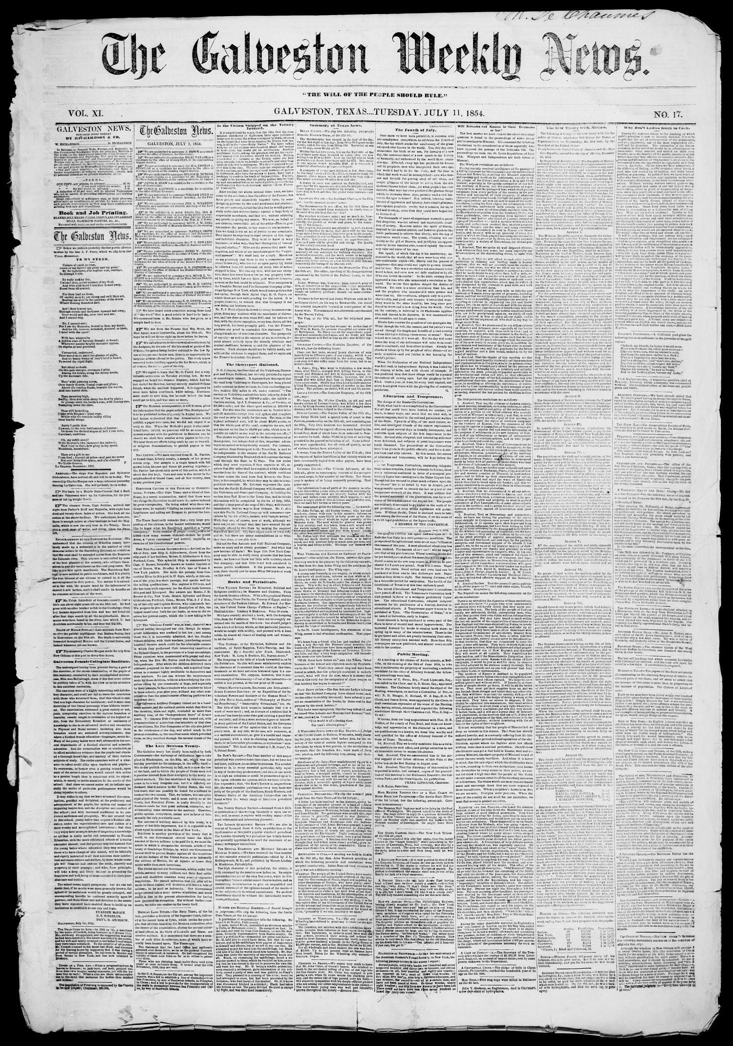 Galveston Weekly News (Galveston, Tex.), Vol. 11, No. 17, Ed. 1, Tuesday, July 11, 1854                                                                                                      [Sequence #]: 1 of 4