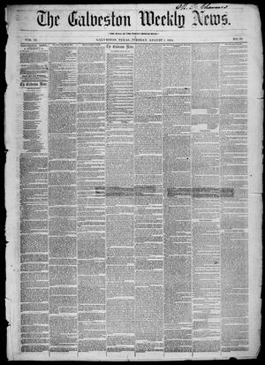 Primary view of object titled 'Galveston Weekly News (Galveston, Tex.), Vol. 11, No. 20, Ed. 1, Tuesday, August 1, 1854'.