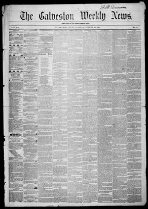 Primary view of object titled 'Galveston Weekly News (Galveston, Tex.), Vol. 12, No. 25, Ed. 1, Tuesday, August 28, 1855'.