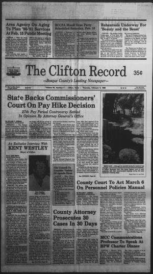 Primary view of object titled 'The Clifton Record (Clifton, Tex.), Vol. 94, No. 6, Ed. 1 Thursday, February 9, 1989'.