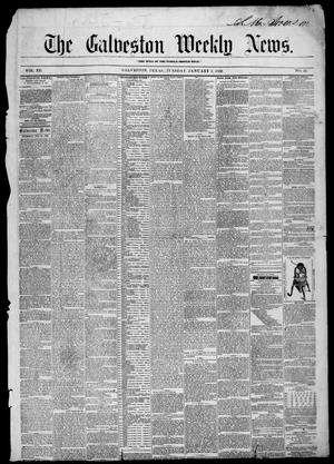Primary view of object titled 'Galveston Weekly News (Galveston, Tex.), Vol. 12, No. 43, Ed. 1, Tuesday, January 1, 1856'.