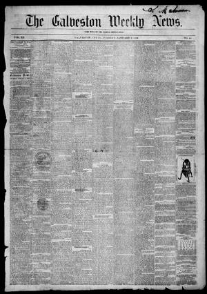 Primary view of object titled 'Galveston Weekly News (Galveston, Tex.), Vol. 12, No. 44, Ed. 1, Tuesday, January 8, 1856'.