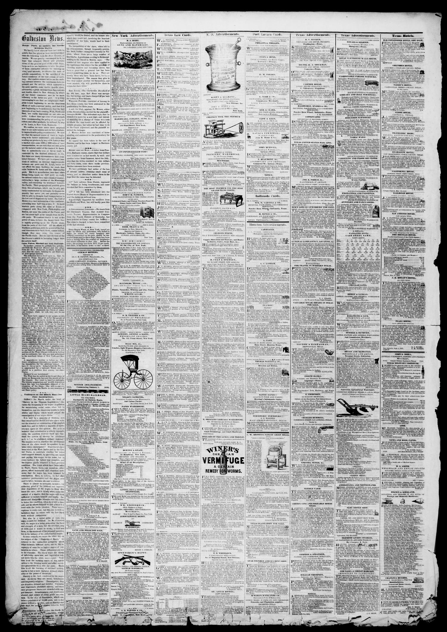 9b02413c7f6 Galveston Weekly News (Galveston, Tex.), Vol. 13, [No. 2A], Ed. 1 ...