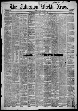 Primary view of Galveston Weekly News (Galveston, Tex.), Vol. 13, No. 31, Ed. 1, Tuesday, October 21, 1856