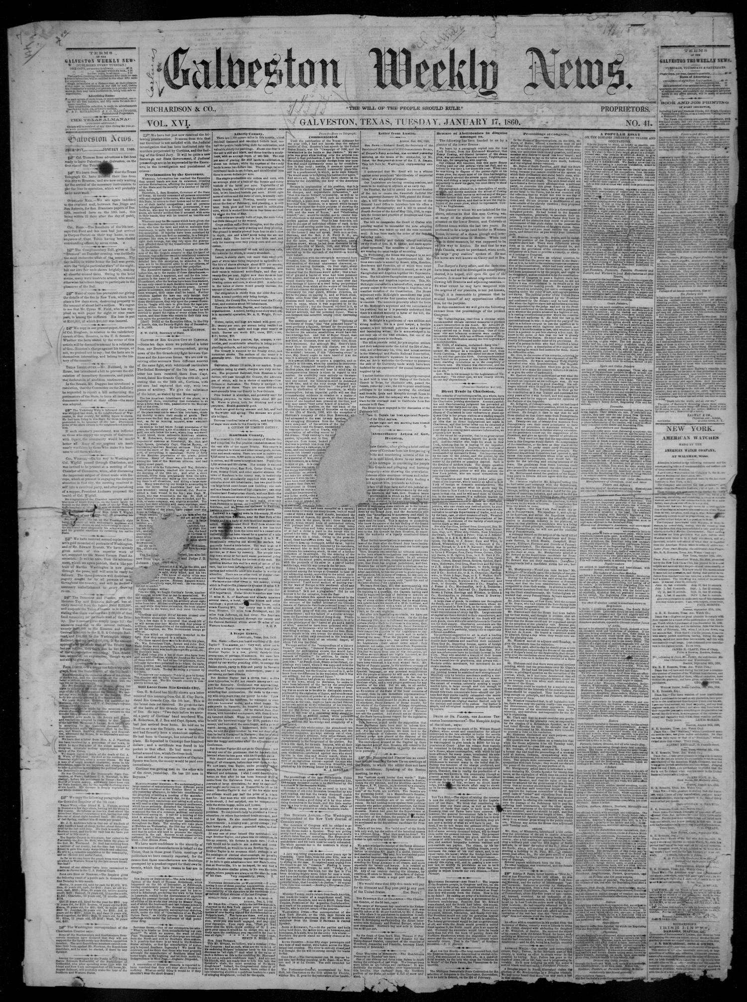Galveston Weekly News (Galveston, Tex.), Vol. 16, No. 41, Ed. 1, Tuesday, January 17, 1860                                                                                                      [Sequence #]: 1 of 4